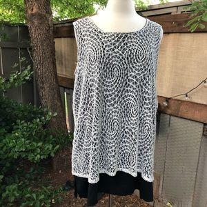 Shannon Ford B&W crochet overlay tunic tank top 1X